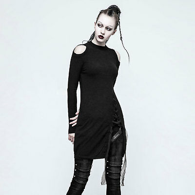 PUNK RAVE Longshirt mit Schlitz Langes Gothic Top für Damen Schwarz Slash Top