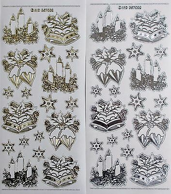 Double Embossed on Clear CANDLES Bells Baubles PEEL OFF STICKERS Christmas Star