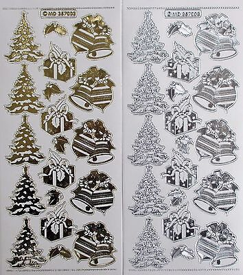 Double Embossed on Clear CHRISTMAS TREE Presents Baubles PEEL OFF STICKERS Bell