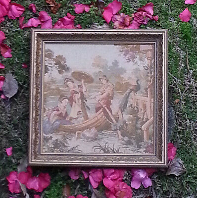 Vintage Tapestry of Chinese Boating Scene in frame