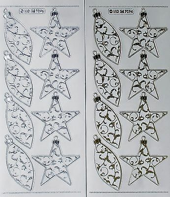 Double Embossed on Clear CHRISTMAS Baubles & Stars PEEL OFF STICKERS Star
