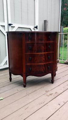 Mahogany Solid Wood Demilune Chest 4 Crotched Flame Mahogany Drawers w/ Inlay