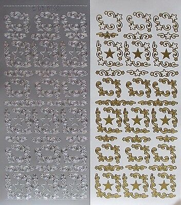 Christmas Star Corners PEEL OFF STICKERS Stars Corner Two Sizes Cardmaking
