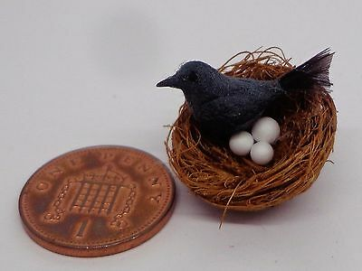 1:12  Hand Made Black Bird In A Nest With 3 Eggs