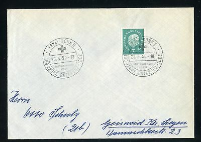 "BERLIN Nr.182 HEUSS BRIEF SST ""BONN 20.6.1959 ROTES KREUZ"" !!! (131635)"