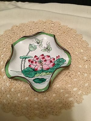 Antique Vintage Chinese Small Cloisonne Lotus Flower Butterfly Bowl Dish