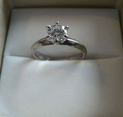 18ct White Gold Diamond Solitaire Engagement Ring 0.52ct