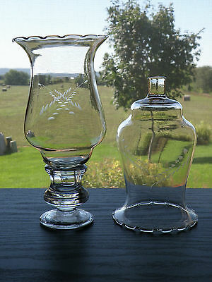 2 HOMCO Home Interiors Tall Wheat Fern Etch Crimp Edge votive cup candle holders