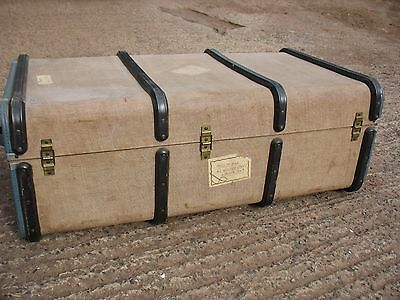 "LOVELY LARGE vintage retro Banded Steamer Travel Trunk Suitcase 13"" x 20"" x 36"""