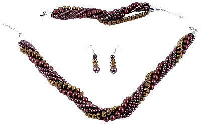Twisted Bronze Glass Pearl & Faceted Glass Bead Necklace Bracelet Earring Set E5
