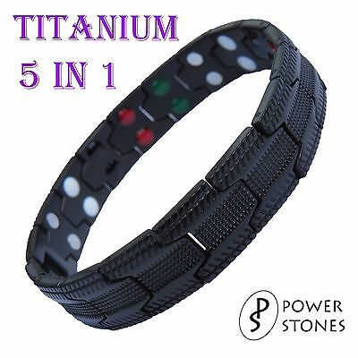 Mens Titanium Super Strong Magnetic Therapy Bracelet Bio 5 In 1 Arthritis 033B