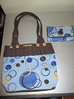 Longaberger Handbag Purse Blue and Brown With Matching Wallet 10.5x9