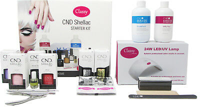 CND Shellac Deluxe 13 Item Nail Starter Kit - Classy Nails 24W LED Lamp Included