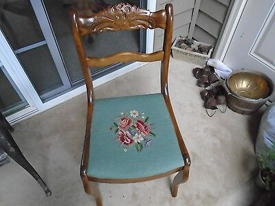 Vintage Wood Side Chair Needlepoint cushioned Seat - Carved back edge