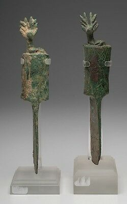 Pair of Ancient Near Eastern Luristan Bronze Stag Handle Knives