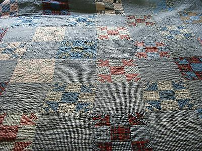 Vintage Quilt Hand Quilted 62 x 72 ...10 SPI ~ No Holes or Stains