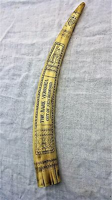 "Vintage Scrimshaw Replica Walrus Tusk ""The Bark Veronica-New Bedford-1849"""