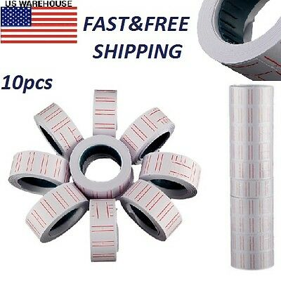 Label Paper New 10 Rolls For MX 5500 Price Gun Labeller Paste Adhesive Supermark