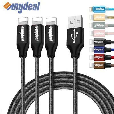 3 Pack 6FT Braided Charging Cable Cord USB Charger Sync for Apple i Phone 7 6 5