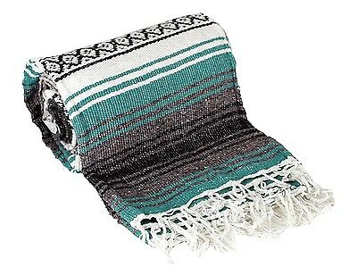 """Authentic Mexican Falsa Blanket Hand Woven Mat Blanket 72""""L x 48""""W Teal Green"""