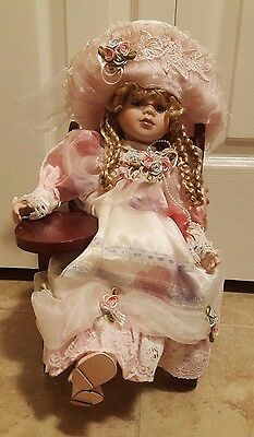 "Collectible 16"" Porcelain Doll on Miniature Chair"