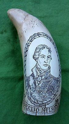 """Vintage Scrimshaw Replica Sperm Whale Tooth """"HMS Victory & Horatio Nelson"""""""