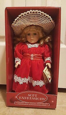 "Soft Expressions 12"" Genuine Fine Bisque Porcelain Doll"