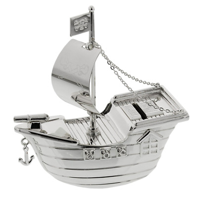 Christening Gifts. Silverplated Pirate Ship Money Box