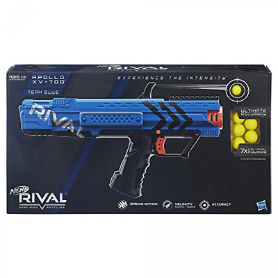 Blaster Toy Gun Nerf Rival Apollo XV700 Spring Action 7 High Impact Rounds, Blue