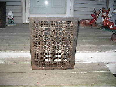 Large Antique 14 x 17 Cast Iron Heating Grate Vent With Damper Louvre Action #2