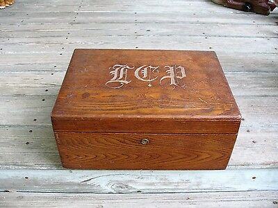 Nice Antique Oak Document File Box With Lift Out Tray Heavily Monogramed On Lid