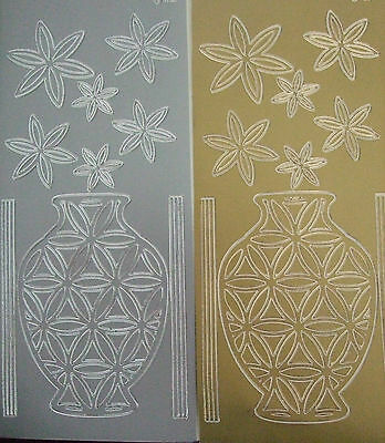 2 sheets of Large Vase/Urn with Flowers Peel-offs  Gold and Silver