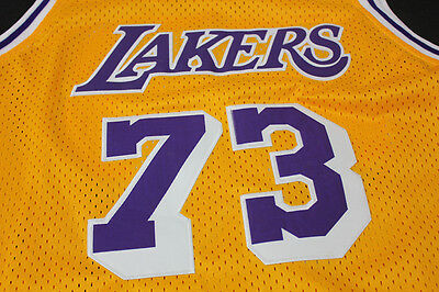 New Men's Los Angeles Lakers #73 Dennis Rodman Basketball Mesh jersey Yellow