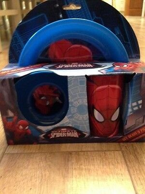Marvel Ultimate Spiderman 3 Piece Plastic Bowl, Plate and Cup