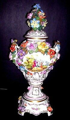 "Antique Carl Thieme Dresden Porcelain Lidded 2 Handled 16 3/4""urn Flawless !"