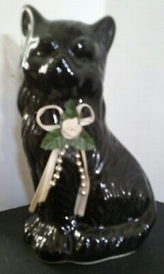 Cute Black Cat Kitten Figurine with Bow