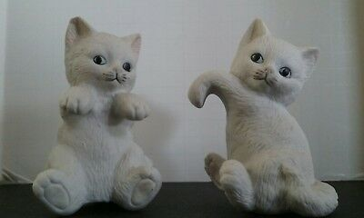 Cute Cat Kitten White Salt & Pepper Shaker Figurines