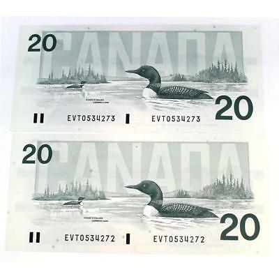 Canada 1991 - 2 x Consecutive $20 Ch-UNC notes with Bonin-Thiessen Signatures