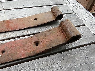 Pair of American Primitive Wrought Iron Strap Hinges from Virginia - Very Early
