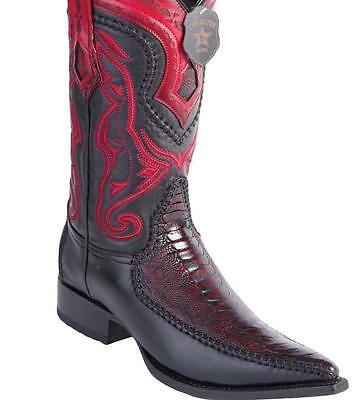 Men's Los Altos Genuine Ostrich Leg Leather Boots Snip Toe Handcrafted Quality