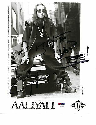 """*RARE* AALIYAH AUTOGRAPHED 8"""" x 10"""" PHOTOGRAPH PSA DNA FULL LETTER AD04272"""