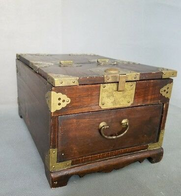 Antique Chinese Rosewood Mirrored Jewelry/Vanity Chest Box