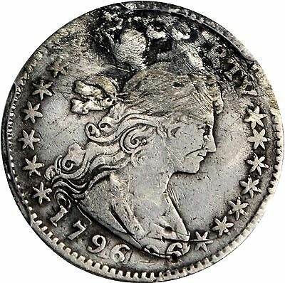 1796 Bust Half Dime Likerty  **double Struck**  +++ Certified Pcgs-Vf +++  Error