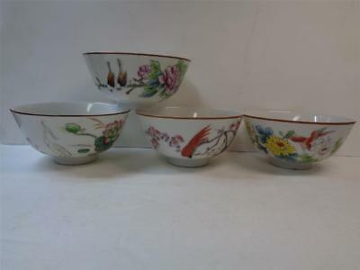 Vintage Hand Painted Porcelain Bowls w Birds and Flowers Glossy finish set of 4