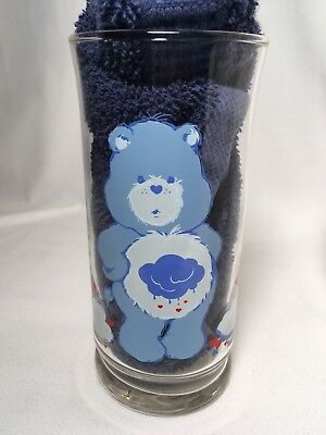 VINTAGE PIZZA HUT CARE BEARS GRUMPY BEAR Blue CHARACTER COLLECTOR GLASS TUMBLER