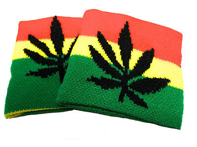 6 Pair's of Wristband Cannabis Leaf Sweatband Party bags Fillers Birthdays Gifts