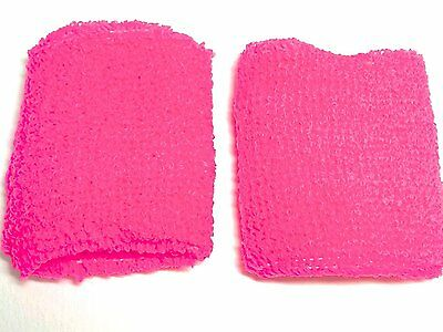 Neon Pink Hi Vis Sweatbands Wristbands Fancy Dress Unisex Sports 80's UV