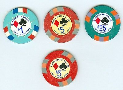 """92 chips from illegal New York City poker room the Diamond Club """"Rounders"""" movie"""