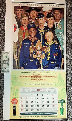 "1970 vtg COCA-COLA Boy Scouts NORMAN ROCKWELL Calendar 33x16"" Sign Houston TX"