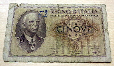 1940 Italy 5 Lire WWII Banknote P-28